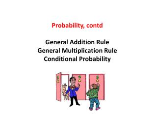 Probability, contd General Addition Rule General Multiplication Rule Conditional Probability