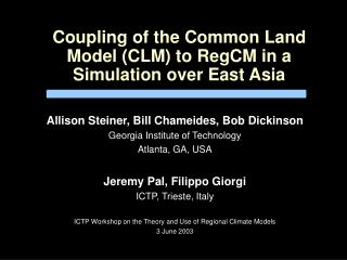 Coupling of the Common Land Model (CLM) to RegCM in a Simulation over East Asia