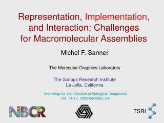 Representation,  Implementation , and Interaction: Challenges for Macromolecular Assemblies