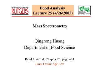 Food Analysis  Lecture 25 (4/26/2005)