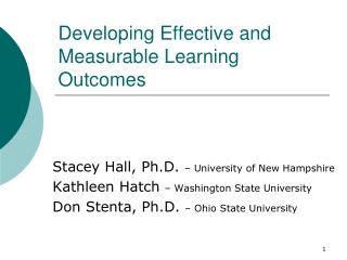 Developing Effective and Measurable Learning Outcomes