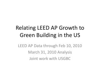 Relating LEED AP Growth to Green Building in the US