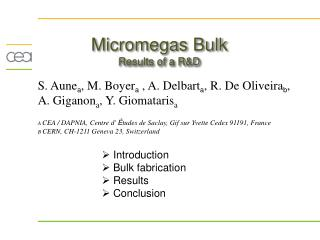 Micromegas Bulk Results of a R&D