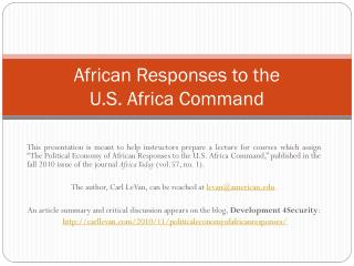 African Responses to the  U.S. Africa Command