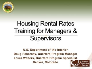 Housing Rental Rates Training for Managers & Supervisors