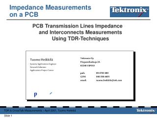 Impedance Measurements on a PCB
