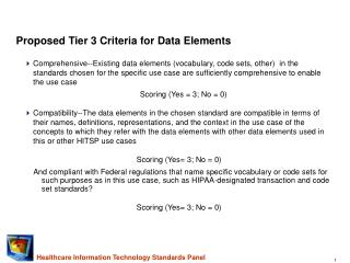 Proposed Tier 3 Criteria for Data Elements