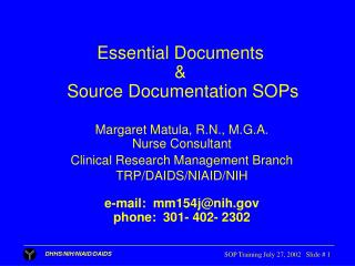 Essential Documents  &  Source Documentation SOPs