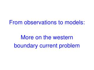 From observations to models: