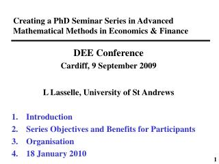 Creating a PhD Seminar Series in Advanced Mathematical Methods in Economics & Finance