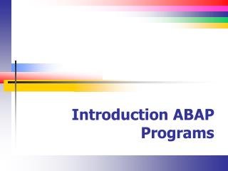 Introduction ABAP Programs