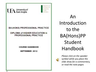 An Introduction to the BA(Hons)PP Student Handbook