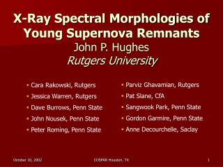 X-Ray Spectral Morphologies of Young Supernova Remnants John P. Hughes Rutgers University