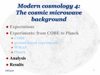 Modern cosmology 4: The cosmic microwave background