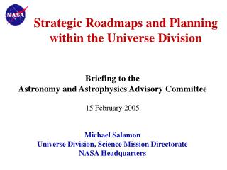 Strategic Roadmaps and Planning  within the Universe Division
