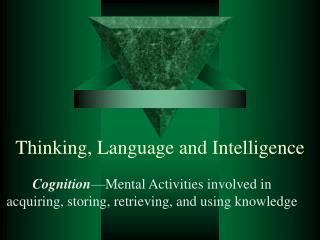 Thinking, Language and Intelligence