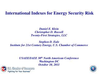 International Indexes for Energy Security Risk
