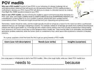 As a group, populate a chart that looks like this to get you going towards a POV  madlib .