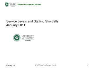 Service Levels and Staffing Shortfalls January 2011