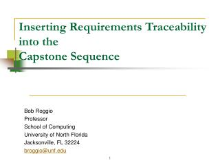 Inserting Requirements Traceability  into the  Capstone Sequence