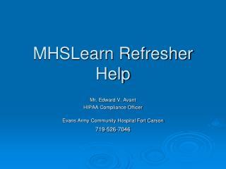 MHSLearn Refresher Help