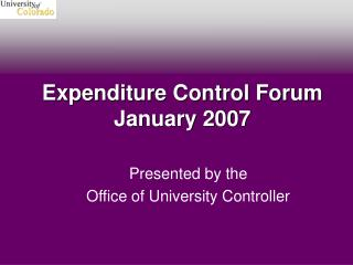 Expenditure Control Forum January 2007