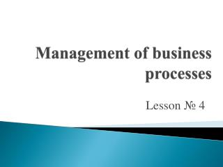 Management of business processes