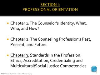 SECTION I: PROFESSIONAL ORIENTATION
