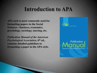 Introduction to APA