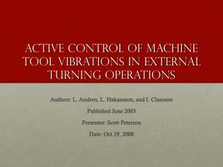 Active control of machine tool vibrations in external turning operations