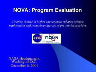 NOVA: Program Evaluation