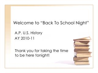 "Welcome to ""Back To School Night"""
