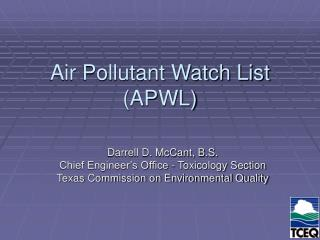 Air Pollutant Watch List (APWL)