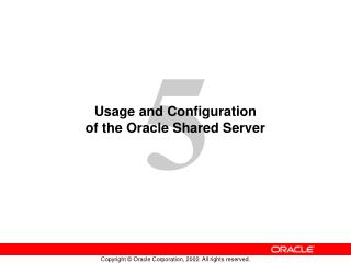 Usage and Configuration of the Oracle Shared Server