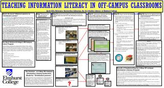 TEACHING INFORMATION LITERACY IN OFF-CAMPUS CLASSROOMS