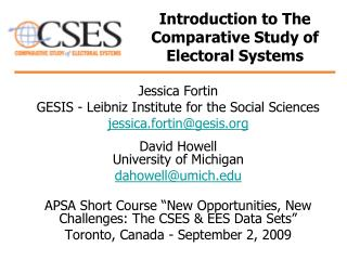 Introduction to The Comparative Study of Electoral Systems