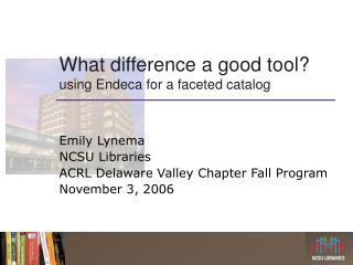 What difference a good tool? using Endeca for a faceted catalog