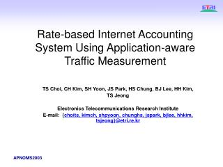 Rate-based Internet Accounting System Using Application-aware Traffic Measurement
