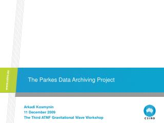 The Parkes Data Archiving Project