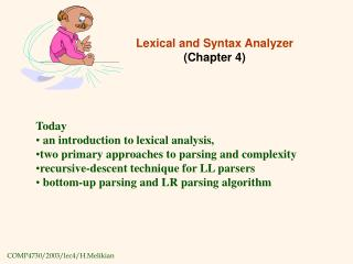 Lexical and Syntax Analyzer (Chapter 4)