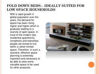 All That You Need To Know About Fold Down Beds