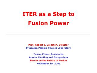 ITER as a Step to  Fusion Power