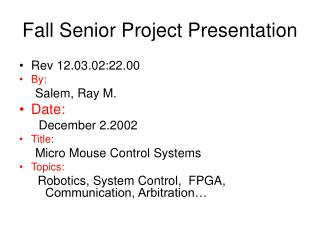 Fall Senior Project Presentation