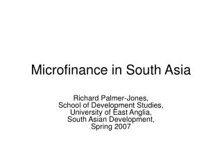 Microfinance in South Asia