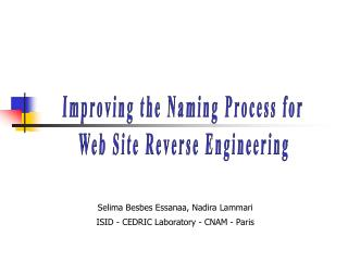 Improving the Naming Process for  Web Site Reverse Engineering