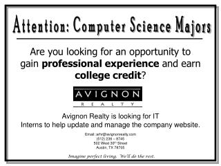Attention: Computer Science Majors