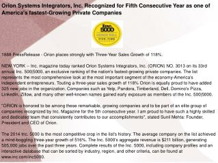 Orion Systems Integrators, Inc. Recognized