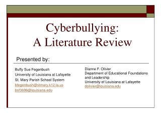 Cyberbullying: A Literature Review