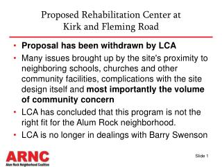 Proposed Rehabilitation Center at Kirk and Fleming Road