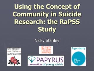 Using the Concept of Community in Suicide Research: the RaPSS Study